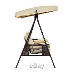Outsunny 3 Seater Balancelle Extérieur Banc De Jardin En Métal Hamac Canopy Lounger