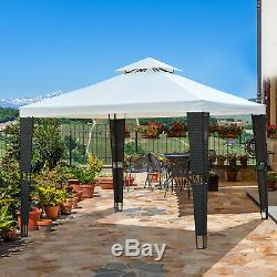 Outsunny 3 X 3m 2 Niveau Metal Gazebo Auvent Auvent Extérieur Terrasse Jardin En Rotin