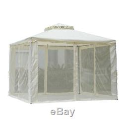 Outsunny 3 X 3m Gazebo De Jardin En Métal Extérieur 2-tier Roof Party Chapiteau Tente Blanc