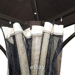 Outsunny 3 X 3m Jardin En Aluminium Gazebo Canopy Rideau Pare-soleil Abri Pluie