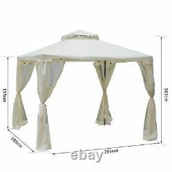 Outsunny 3 X 3m Metal Gazebo Jardin Extérieur 2-tier Toit Marquee Party Tente Blanc