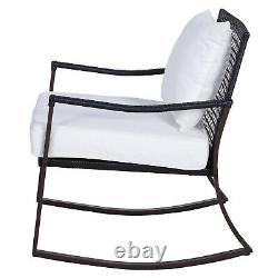 Outsunny 3pc Rattan Bistro Set Garden Wicker Rocking Chair Coffee Table Coussins