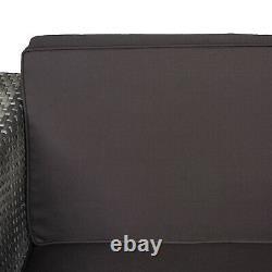 Outsunny 3pc Rattan Bistro Set Sofa Chaise De Table Jardin Meubles Conservatoire