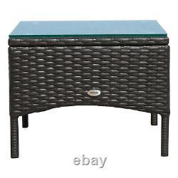Outsunny 3pc Rattan Table Chair Garden Bistro Set Mobilier Extérieur Dinning Seat