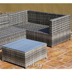 Outsunny 3pcs Rattan Corner Canapé Set Table Basse Meubles De Jardin Avec Coussin