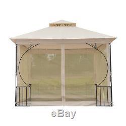 Outsunny 3x3m Gazebo Métal Extérieur Tente Abri De Jardin Canopy Beige
