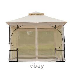 Outsunny 3x3m Metal Gazebo Outdoor Tent Shelter Garden Verrière Beige