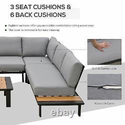 Outsunny 4 Pcs Ensemble De Conversation De Meubles De Jardin Avec Loveseat Corner Canapé Table