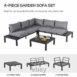 Outsunny 4pc Aluminium Garden Corner Canapé Set Table De Café Meubles Rembourrés