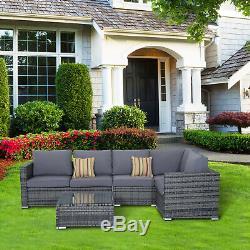 Outsunny 4pc Jardin En Rotin Canapé D'angle Set Table Basse En Osier Mobilier D'extérieur