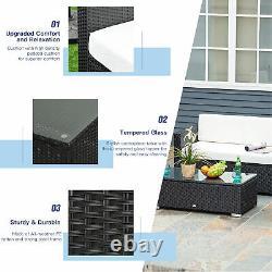 Outsunny 4pc Rattan Canapé Set Extérieur Table Basse Chaise Wicker Garden Meubles