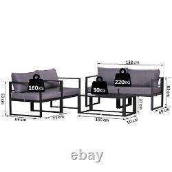 Outsunny 4pcs Garden Sectional Canapé Set Meubles De Table En Aluminium Avec Coussin