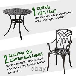 Outsunny 5 Pcs Cast Aluminium Table 4 Chaises Jardin Extérieur Meubles De Salle À Manger