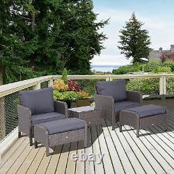 Outsunny 5pcs Meubles En Rotin Extérieur Set Footstool Coffee Table Garden