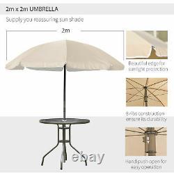 Outsunny 6pc Garden Dining Set Meubles Extérieurs Pliage Chaises Table Parasol