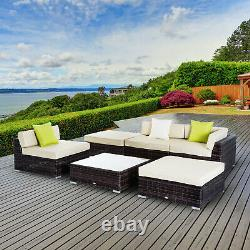 Outsunny 6pc Garden Rattan Furniture Set Patio Couch Sofa Wicker Table Footstool