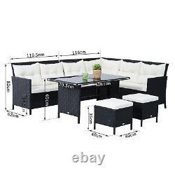 Outsunny 6pc Outdoor Rattan Canapé Table À Manger Tabouret Salon De Jardin Meubles