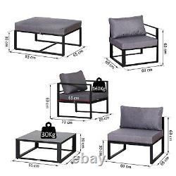 Outsunny 6pcs Garden Sectional Canapé Set Aluminium Cadre Table De Café Pied