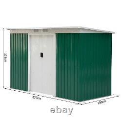 Outsunny 9ft X 4ft Corrugated Garden Metal Storage Shed Tool Box With Foundation