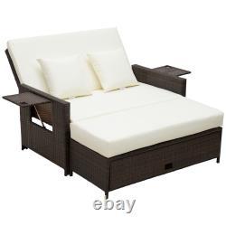 Outsunny Garden Rattan Furniture 2 Seater Patio Sun Lounger Transat Transat