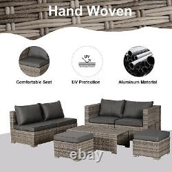Outsunny Outdoor Rattan Garden Furniture 6 Seater Sofa & Table Basse Set Grey