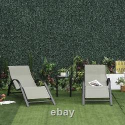 Outsunny Patio Textilene 3 Pieces Chaise Longue Ensemble Jardin Inclinable Avec Table Grey