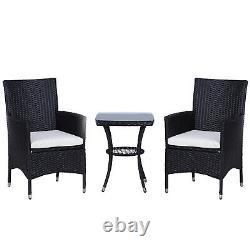 Outsunny Rattan Bistro Set Garden Chair Table Patio Extérieur Coussin Conservatoire