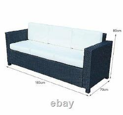 Outsunny Rattan Canapé Meubles Patio Jardin Wicker Extérieur 3 Seater Chaise Noir