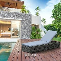 Outsunny Rattan Incliner Lounger Garden Furniture Sun Lounger Lit Inclinable -gris