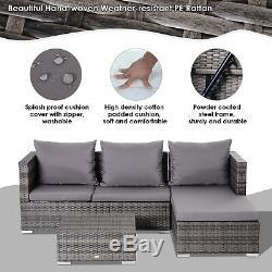 Outsunny Rotin Jardin Sofa Set De Table De Rangement En Osier Patio Chaise Longue 4-seater Gris