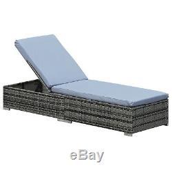 Outsunny Rotin Meubles De Jardin Chaise Longue Recliner Sun Lounger Recliner Bed -grey