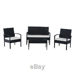 Outsunny Rotin Sofa Set De Jardin Mobilier D'extérieur En Osier Weave Chaise Table