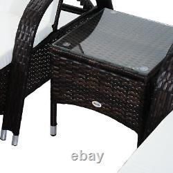 Outsunny Rotin Table D'appoint Bain De Soleil Jour Lit Inclinable Chaise De Jardin Sur Roues