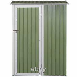 Outsunny Steel Garden Stool Storage Shed Toit Incliné Vert Clair 143x89x186cm