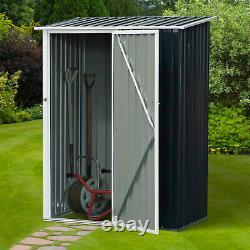 Outsunny Steel Garden Storage Shed Jardin Tabouret Stockage Sloped Roof Grey
