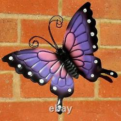 Papillons X 4 Coloré Extérieur Grand Métal Papillon Jardin Mural Art Décoré