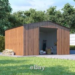 Partenaire Hangar De Jardin En Métal Au Grain De Bois Partner Stockage Apex En Acier Galvanisé