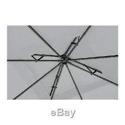 Patio Extérieur En Métal Gazebo Carré Ombre De Jardin Orné 160g / M² 3x3m Gris Foncé