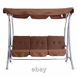 Patio Garden Swing Chair Metal Swinging Hammock Cushioned Banquet Seat 3 Seater
