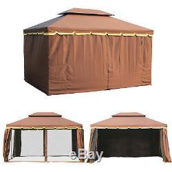Pavillon D'auvent De Tente De Partie De Pavillon De Jardin De Belvédère En Métal En Aluminium D'outsunny 3x4m