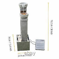 Peaktop Solar Power Fontaine D'eau Jardin D'ardoise Ornement Gris, Léger Pt-sf0002