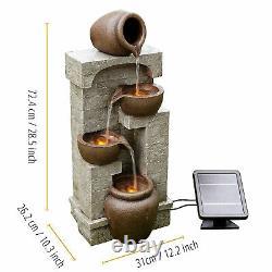 Peaktop Solar Power Fontaine D'eau Jardin De Bronze Lumières D'ornement Pt-sf0001