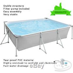 Piscine De Jardin Avec Pompe Grand Cadre Rectangulaire En Métal-10ft -piscine Familiale Nouveau