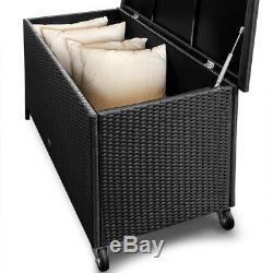 Poly Boîte De Coussin En Aluminium De Coffre De Coffre De Coffre De Jardin D'unité De Boîte De Rangement De Rotin