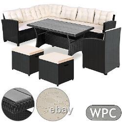 Poly Rotin Jardin Canapé D'angle Set Wpc Table À Manger Salon Patio Extérieur En Osier