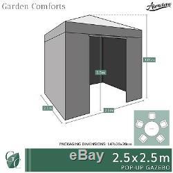 Pop Up Gazebo 2.5m Avec Côtés Étanche Jardin Chapiteau Tente Canopy Par Airwave