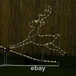 Pre Lit 2 X Reindeer Led Rope Light Up Garden Extérieur Cadre De Décoration De Noël