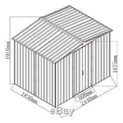 Rangement De Jardin 8x6 En Métal De Jardin 2 Portes Base De Toit Libre De Base Libre Extérieure En Plein