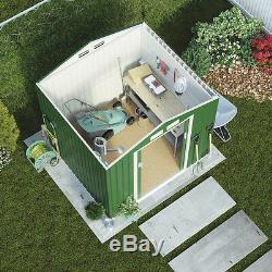 Rangement De Jardin En Métal 7 X 4 Pi 7 X 6 Portes Coulissantes À Deux Battants Toit Apex Vert Waltons