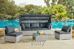 Rattan Canopy Garden Furniture Set Outdoor Lounge Sofa Chaise Sunbed Modular